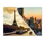 "Trademark Fine Art ''Sunset in Paris and New York'' by Philippe Hugonnard 14"" x 19"" Canvas Art (PH0114-C1419GG)"
