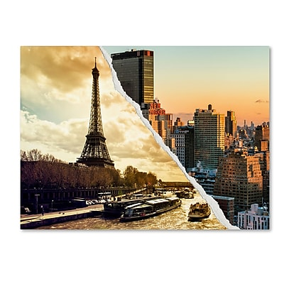 "Trademark Fine Art ''Sunset in Paris and New York'' by Philippe Hugonnard 14"" x 19"" Canvas Art (PH0114-C1419GG)"