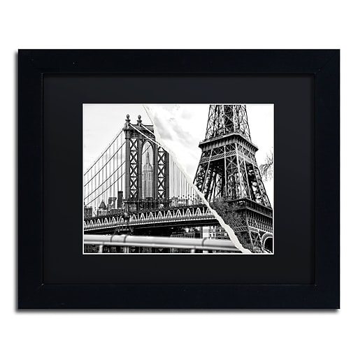 "Trademark Fine Art ''The Tower and the Bridge'' by Philippe Hugonnard 11"" x 14"" Black Matted Black Frame (PH0116-B1114BMF)"