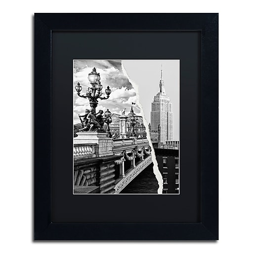 """Trademark Fine Art ''Live in Paris and New York'' by Philippe Hugonnard 11"""" x 14"""" Black Matted Black Frame (PH0117-B1114BMF)"""