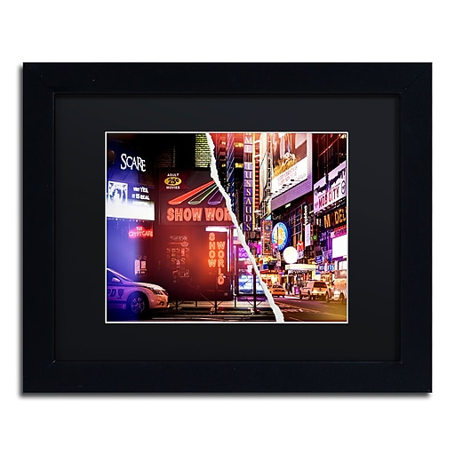 """Trademark Fine Art ''Times Square Show'' by Philippe Hugonnard 11"""" x 14"""" Black Matted Black Frame (PH0119-B1114BMF)"""