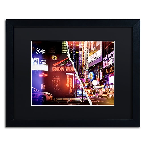 """Trademark Fine Art ''Times Square Show'' by Philippe Hugonnard 16"""" x 20"""" Black Matted Black Frame (PH0119-B1620BMF)"""
