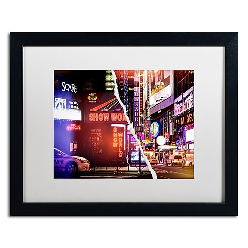 "Trademark Fine Art ''Times Square Show'' by Philippe Hugonnard 16"" x 20"" White Matted Black Frame (PH0119-B1620MF)"