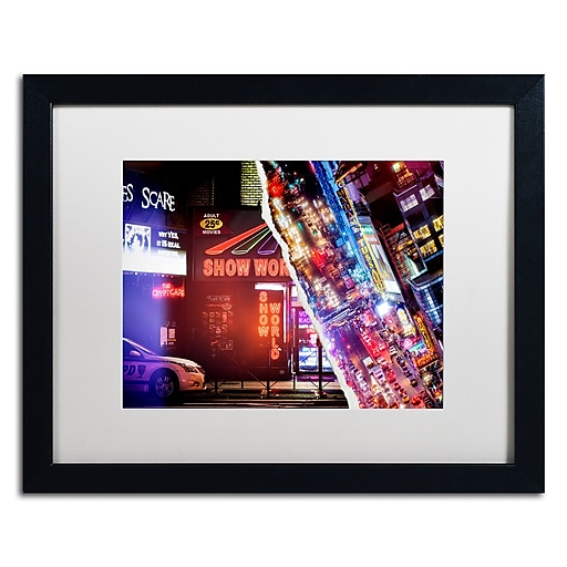 "Trademark Fine Art ''One evening in Manhattan'' by Philippe Hugonnard 16"" x 20"" White Matted Black Frame (PH0120-B1620MF)"