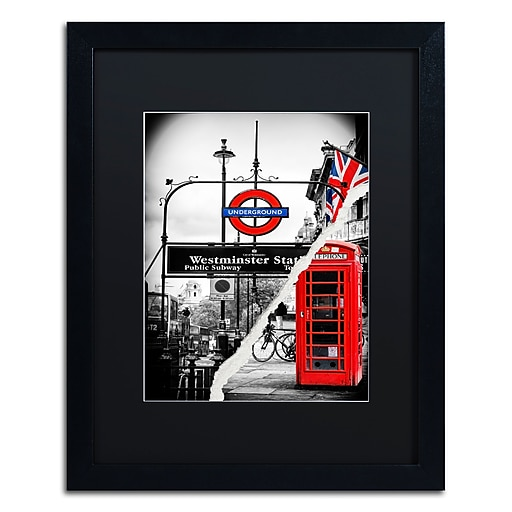 "Trademark Fine Art ''Westminster Station'' by Philippe Hugonnard 16"" x 20"" Black Matted Black Frame (PH0125-B1620BMF)"