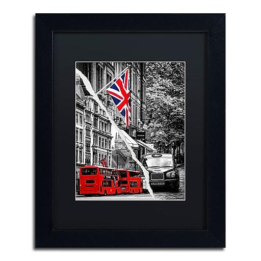 "Trademark Fine Art ''London Bus'' by Philippe Hugonnard 11"" x 14"" Black Matted Black Frame (PH0126-B1114BMF)"