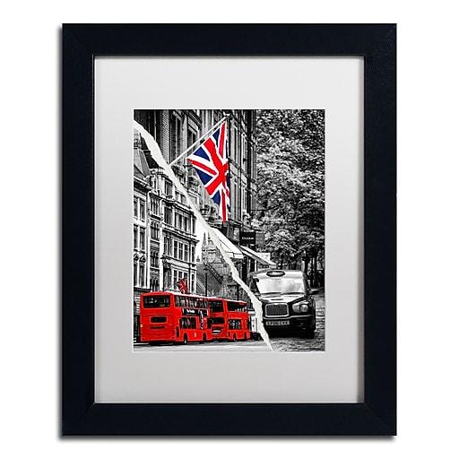 "Trademark Fine Art ''London Bus'' by Philippe Hugonnard 11"" x 14"" White Matted Black Frame (PH0126-B1114MF)"