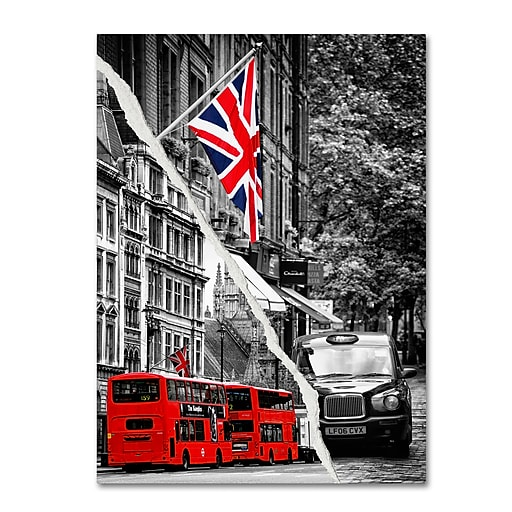 "Trademark Fine Art ''London Bus'' by Philippe Hugonnard 24"" x 32"" Canvas Art (PH0126-C2432GG)"