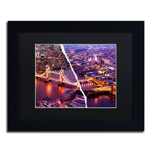 "Trademark Fine Art ''City Lights London'' by Philippe Hugonnard 11"" x 14"" Black Matted Black Frame (PH0127-B1114BMF)"