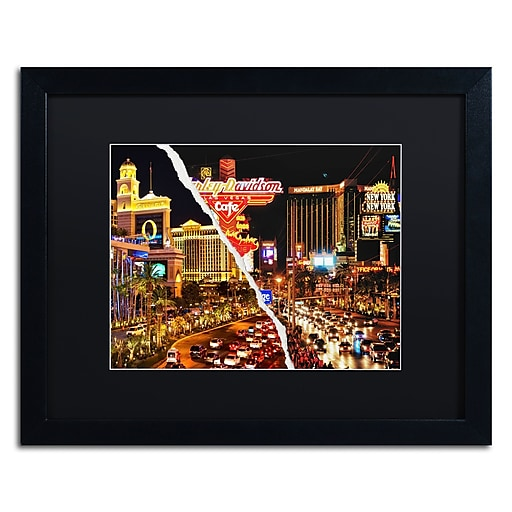 "Trademark Fine Art ''The Strip'' by Philippe Hugonnard 16"" x 20"" Black Matted Black Frame (PH0128-B1620BMF)"
