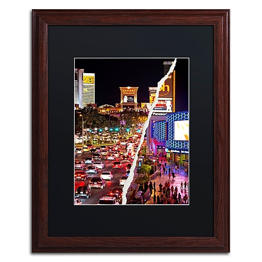 """Trademark Fine Art ''The City of Las Vegas'' by Philippe Hugonnard 16"""" x 20"""" Black Matted Wood Frame (PH0129-W1620BMF)"""