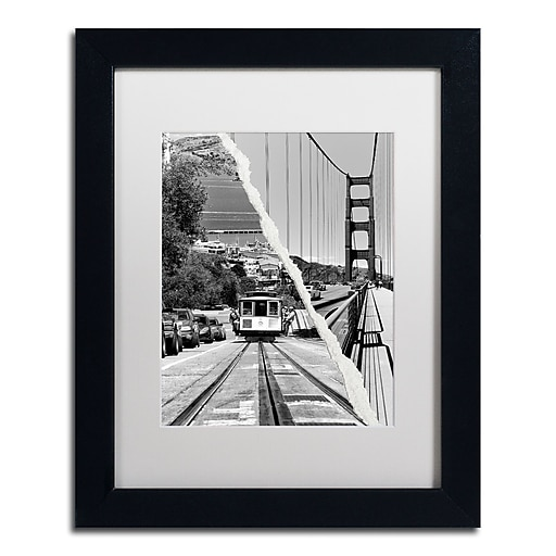 """Trademark Fine Art ''San Francisco Cable Car'' by Philippe Hugonnard 11"""" x 14"""" White Matted Black Frame (PH0130-B1114MF)"""