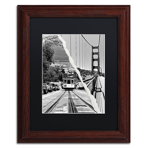 """Trademark Fine Art ''San Francisco Cable Car'' by Philippe Hugonnard 11"""" x 14"""" Black Matted Wood Frame (PH0130-W1114BMF)"""