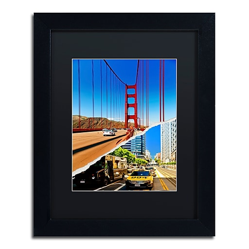 "Trademark Fine Art ''San Francisco Travel'' by Philippe Hugonnard 11"" x 14"" Black Matted Black Frame (PH0131-B1114BMF)"