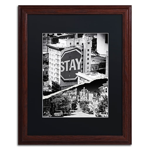 """Trademark Fine Art ''Staying in San Francisco'' by Philippe Hugonnard 16"""" x 20"""" Black Matted Wood Frame (PH0133-W1620BMF)"""