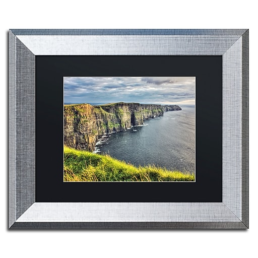 """Trademark Fine Art ''Cliffs of Moher Ireland'' by Pierre Leclerc 11"""" x 14"""" Black Matted Silver Frame (PL0021-S1114BMF)"""