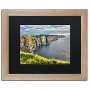 """Trademark Fine Art ''Cliffs of Moher Ireland'' by Pierre Leclerc 16"""" x 20"""" Black Matted Wood Frame (PL0021-T1620BMF)"""