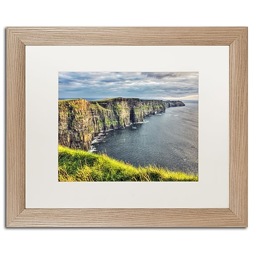 "Trademark Fine Art ''Cliffs of Moher Ireland'' by Pierre Leclerc 16"" x 20"" White Matted Wood Frame (PL0021-T1620MF)"