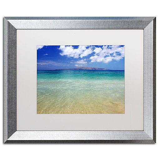 "Trademark Fine Art ''Hawaii Blue Beach'' by Pierre Leclerc 16"" x 20"" White Matted Silver Frame (PL0038-S1620MF)"