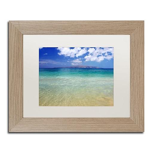 "Trademark Fine Art ''Hawaii Blue Beach'' by Pierre Leclerc 11"" x 14"" White Matted Wood Frame (PL0038-T1114MF)"