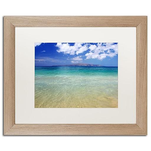 "Trademark Fine Art ''Hawaii Blue Beach'' by Pierre Leclerc 16"" x 20"" White Matted Wood Frame (PL0038-T1620MF)"
