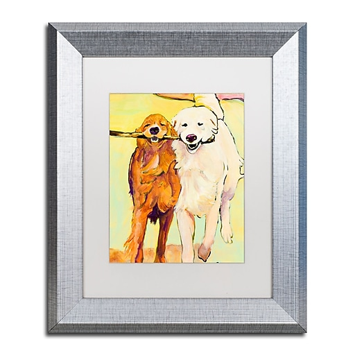 "Trademark Fine Art ''Stick With Me 1'' by Pat Saunders 11"" x 14"" White Matted Silver Frame (PS016-S1114MF)"