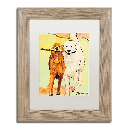 """Trademark Fine Art ''Stick With Me 1'' by Pat Saunders 11"""" x 14"""" White Matted Wood Frame (PS016-T1114MF)"""