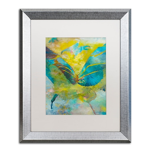 """Trademark Fine Art ''Butterflight'' by Rickey Lewis 16"""" x 20"""" White Matted Silver Frame (RL003-S1620MF)"""