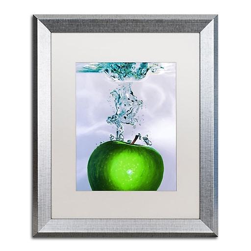 """Trademark Fine Art ''Apple Splash II'' by Roderick Stevens 16"""" x 20"""" White Matted Silver Frame (RS011-S1620MF)"""