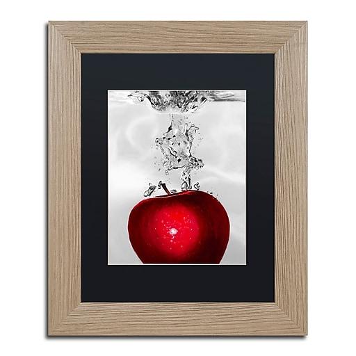 "Trademark Fine Art ''Red Apple Splash'' by Roderick Stevens 11"" x 14"" Black Matted Wood Frame (RS012-T1114BMF)"