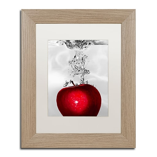 "Trademark Fine Art ''Red Apple Splash'' by Roderick Stevens 11"" x 14"" White Matted Wood Frame (RS012-T1114MF)"