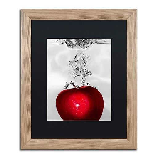 "Trademark Fine Art ''Red Apple Splash'' by Roderick Stevens 16"" x 20"" Black Matted Wood Frame (RS012-T1620BMF)"