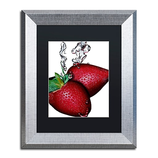 "Trademark Fine Art ''Strawberry Splash II'' by Roderick Stevens 11"" x 14"" Black Matted Silver Frame (RS023-S1114BMF)"