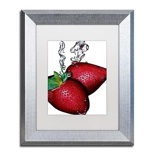 "Trademark Fine Art ''Strawberry Splash II'' by Roderick Stevens 11"" x 14"" White Matted Silver Frame (RS023-S1114MF)"