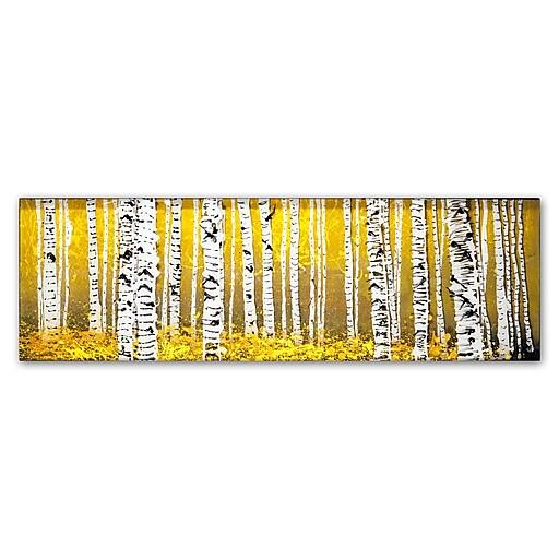 "Trademark Fine Art ''PanorAspens Yellow Floor'' by Roderick Stevens 16"" x 47"" Canvas Art (RS1020-C1647GG)"