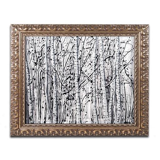 """Trademark Fine Art ''Winter Aspens'' by Roderick Stevens 11"""" x 14"""" Ornate Frame (RS1021-G1114F)"""