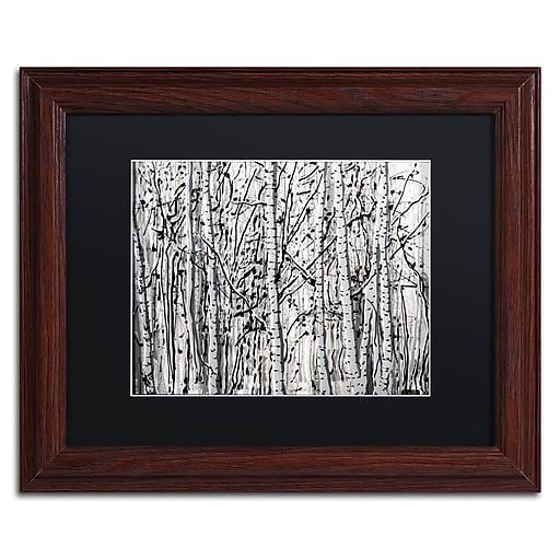 "Trademark Fine Art ''Winter Aspens'' by Roderick Stevens 11"" x 14"" Black Matted Wood Frame (RS1021-W1114BMF)"