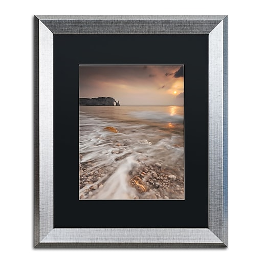 "Trademark Fine Art ''Etretat'' by Mathieu Rivrin 16"" x 20"" Black Matted Silver Frame (RV0008-S1620BMF)"