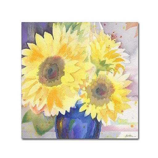 """Trademark Fine Art ''Sunflower Blossom Bouquet'' by Sheila Golden 14"""" x 14"""" Canvas Art (SG5731-C1414GG)"""