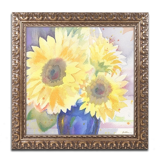 "Trademark Fine Art ''Sunflower Blossom Bouquet'' by Sheila Golden 11"" x 11"" Ornate Frame (SG5731-G1111F)"
