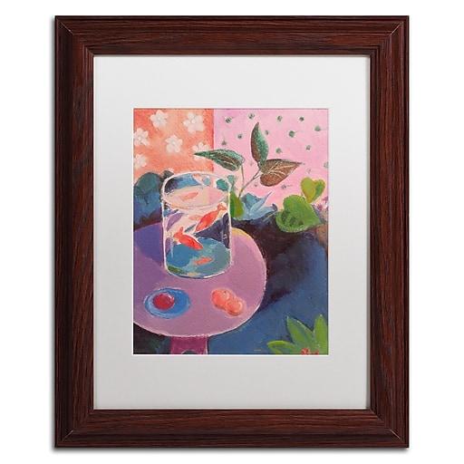 "Trademark Fine Art ''Goldfish'' by Sheila Golden 11"" x 14"" White Matted Wood Frame (SG5732-W1114MF)"