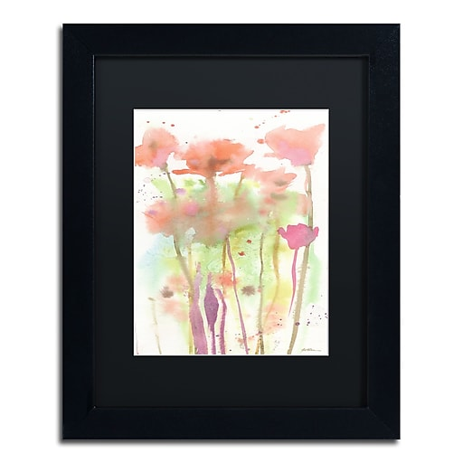 "Trademark Fine Art ''Red Poppy Impressions'' by Sheila Golden 11"" x 14"" Black Matted Black Frame (SG5735-B1114BMF)"