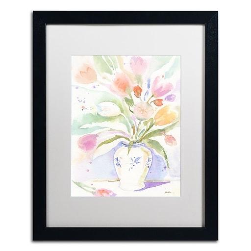 "Trademark Fine Art ''The Vase of Tulips'' by Sheila Golden 16"" x 20"" White Matted Black Frame (SG5739-B1620MF)"