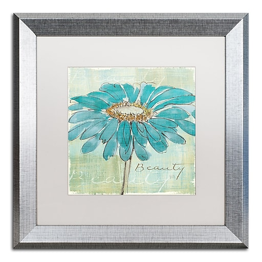 "Trademark Fine Art ''Spa Daisies I'' by Chris Paschke 16"" x 16"" White Matted Silver Frame (WAP0055-S1616MF)"