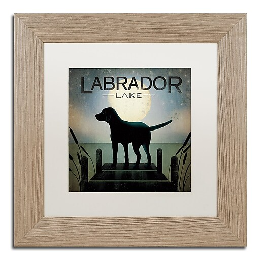 "Trademark Fine Art ''Moonrise Black Dog Labrador Lake'' by Ryan Fowler 11"" x 11"" White Matted Wood Frame (WAP0080-T1111MF)"