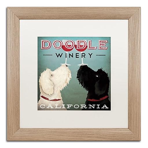 "Trademark Fine Art ''Doodle Wine'' by Ryan Fowler 16"" x 16"" White Matted Wood Frame (WAP0124-T1616MF)"
