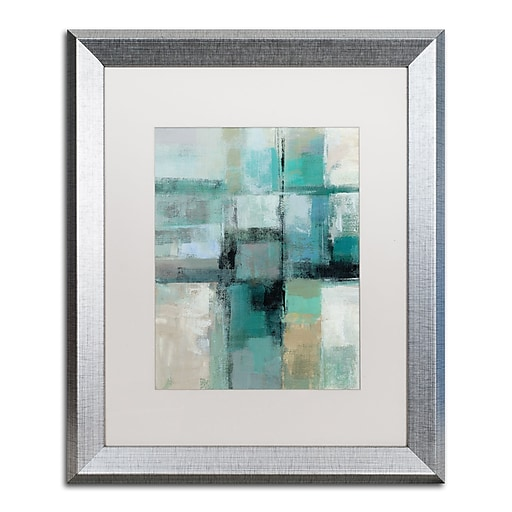 "Trademark Fine Art ''Island Hues Crop I'' by Silvia Vassileva 16"" x 20"" White Matted Silver Frame (WAP0130-S1620MF)"