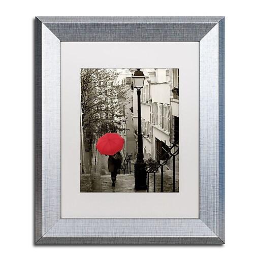 """Trademark Fine Art ''Paris Stroll II'' by Sue Schlabach 11"""" x 14"""" White Matted Silver Frame (WAP0133-S1114MF)"""