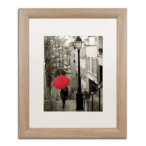 """Trademark Fine Art ''Paris Stroll II'' by Sue Schlabach 16"""" x 20"""" White Matted Wood Frame (WAP0133-T1620MF)"""