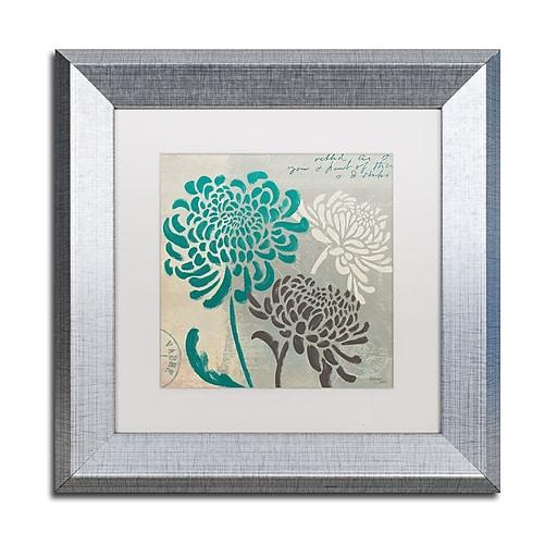 "Trademark Fine Art ''Chrysanthemums I'' by Wellington Studio 11"" x 11"" White Matted Silver Frame (WAP0134-S1111MF)"